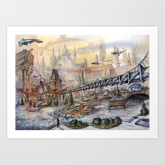 Prague of Future Art Print
