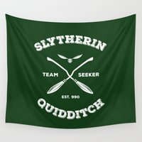 quidditch Wall Tapestries featuring Slytherin Quidditch Team Seeker: Green by Sharayah Mitchell