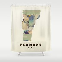 vermont Shower Curtains featuring Vermont state map by bri.buckley