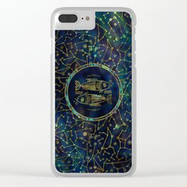 Pisces Zodiac Gold Abalone on Constellation Clear iPhone Case