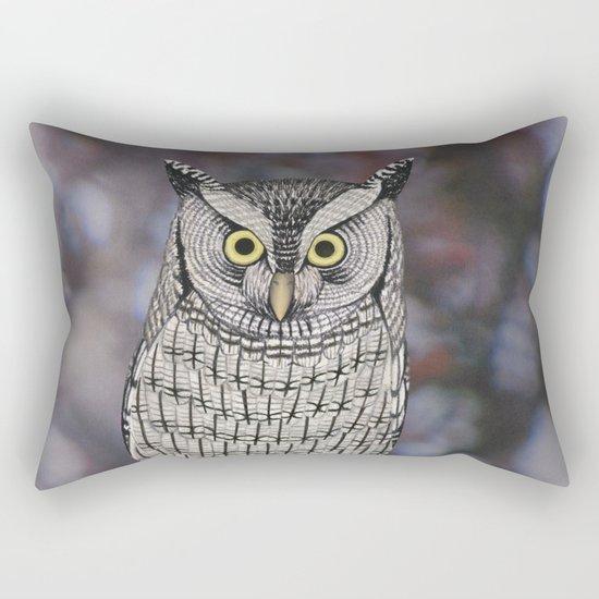 eastern screech owl on a branch Rectangular Pillow