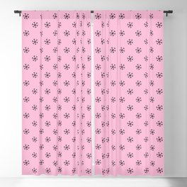 Black on Cotton Candy Pink Snowflakes Blackout Curtain