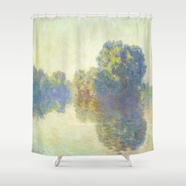The Seine at Giverny Claude Monet 1897 Impressionist Oil Painting Nature Trees Lake Landscape Shower Curtain