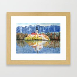 Church of the Assumption in Lake Bled Slovenia Framed Art Print