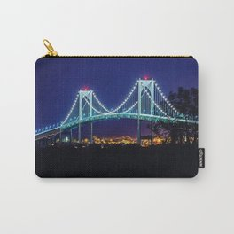 Newport Bridge, City Lights landscape painting by Jeanpaul Ferro Carry-All Pouch