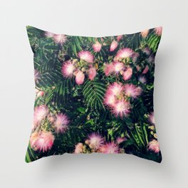Mimosa Tree Floral Pattern | Photography | Tropical | Pink aesthetic Throw Pillow
