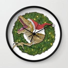 Velociraptor and Christmas Wreathe Wall Clock
