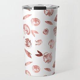 Rose Gold Roses Rosette Pattern Pink on White Travel Mug