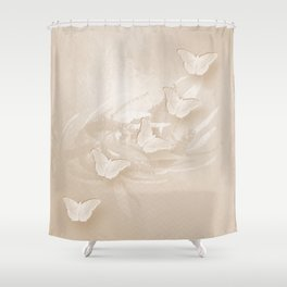 Fabulous butterflies and wattle with textured chevron pattern in subtle iced coffee Shower Curtain