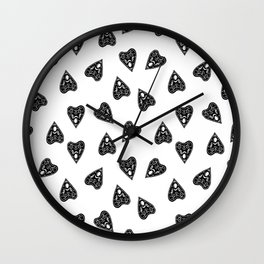 Ouija planchette black and white linocut pattern gifts spiritual magical witches Wall Clock