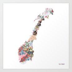Norway map Art Print