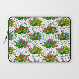 Tulip Bouquets in Black + White Dots Laptop Sleeve