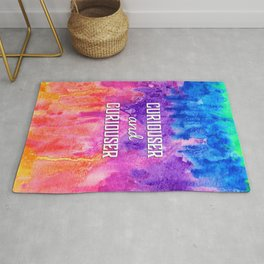 Curiouser and Curiouser Alice in Wonderland Quote over Rainbow Watercolor Rug