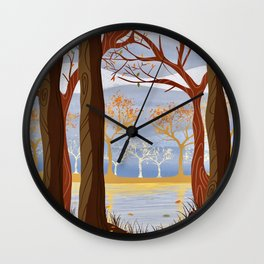 Autumn Leaves Autumn Woods Wall Clock