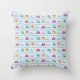 Caravans with bunting Throw Pillow