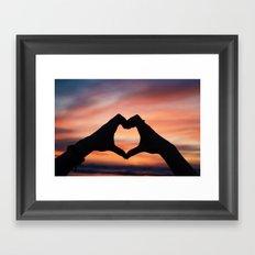 Sunset Hearts Framed Art Print