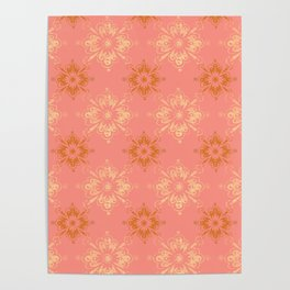 Ornament in Peach and Gold Poster