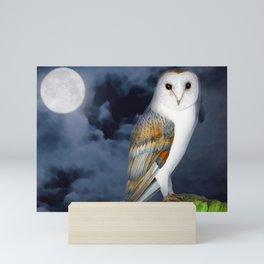 Barn Owl Bird Watercolor Artwork Mini Art Print