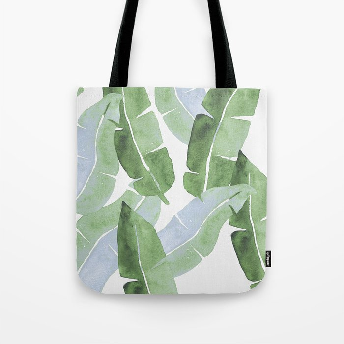 Tropical Leaves 2 Blue And Green Tote Bag