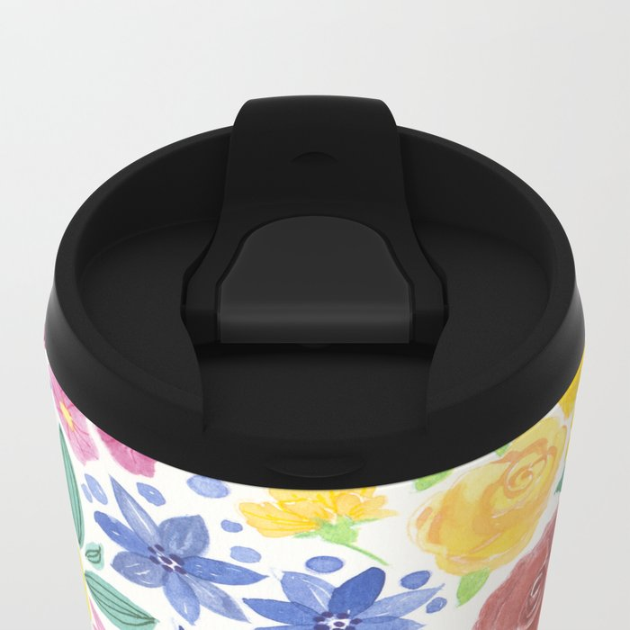 Doodle floral garden in watercolor Metal Travel Mug
