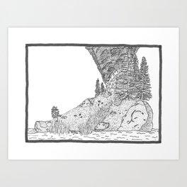 Fire on Foot Island Art Print