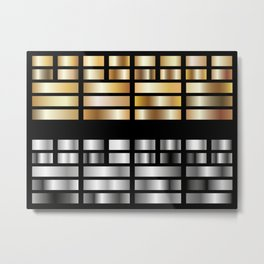 Or et Argent en rectangle Metal Print