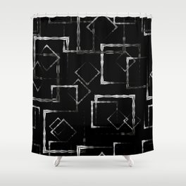 Bright carved squares and white rhombuses on a black background. Shower Curtain