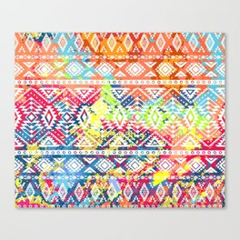 Bright ethnic pattern. Geometric striped background. Tribal motifs. Spot colors Canvas Print