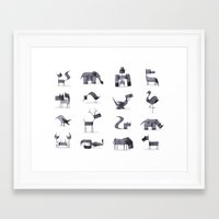 calligraphy Framed Art Prints featuring Calligraphy Animals by Andrew Fox