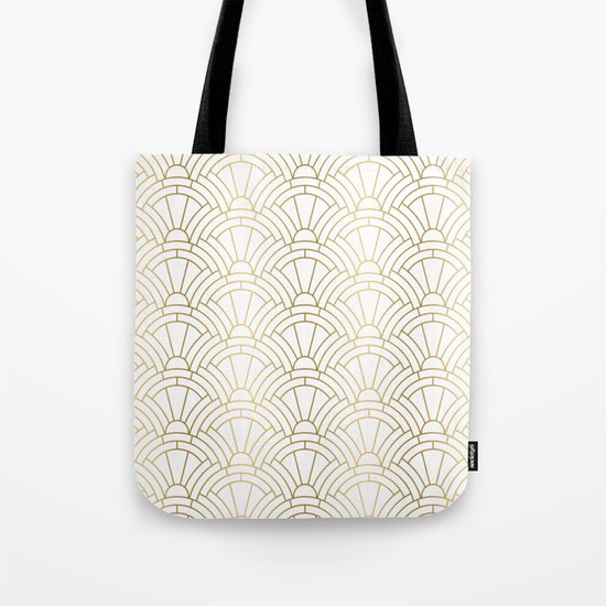 Gold and white geometric Art Deco pattern by artonwear