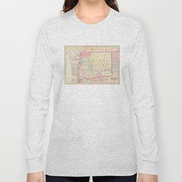 Vintage Map of Washington State (1874) Long Sleeve T-shirt