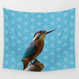 Kingfisher Montage (Norse Blue) Wall Tapestry