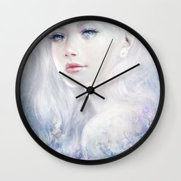 Ethereal - White as ice beatiful girl portrait Wall Clock