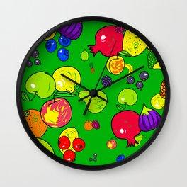 Mixed Fruit Doodles Wall Clock