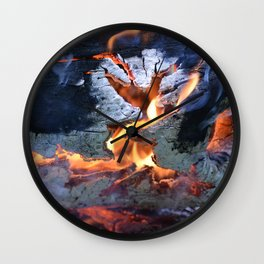black white and flame Wall Clock
