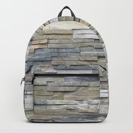 Gray Slate Stone Brick Texture Faux Wall Backpack