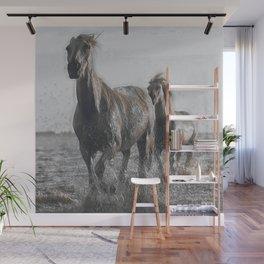 White Horses At The Beach I Wall Mural