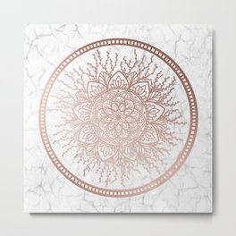 Rose Gold Nature Mandala on Marble Metal Print