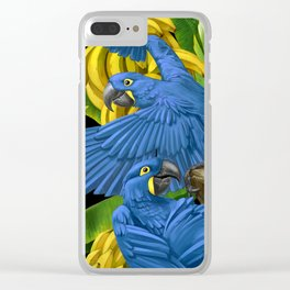 Hyacinth Macaws and bananas Stravaganza (black background). Clear iPhone Case