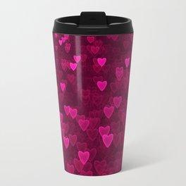 Valentine's Day   Romantic Crimson Galaxy   Universe of pink purple hearts Travel Mug