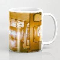 train Mugs featuring Train  by Raquel Belloch