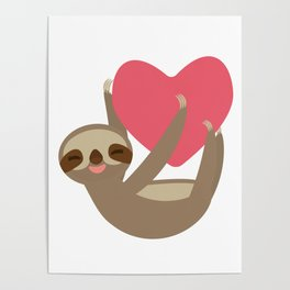 Valentines day card. Funny sloth with a red heart Poster