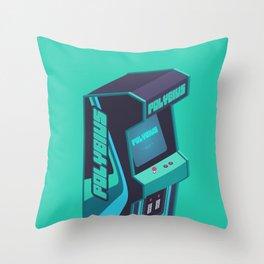 Polybius Arcade Game Machine Cabinet - Isometric Green Throw Pillow