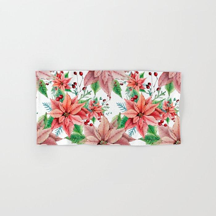 Red Poinsettia Hand & Bath Towel