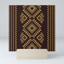 Brown geometric pattern Mini Art Print