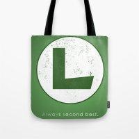 luigi Tote Bags featuring Luigi Hero by Head Glitch