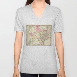 Vintage Map of Texas (1856) Unisex V-Neck