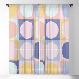 Colorful Circles in Squares Sheer Curtain