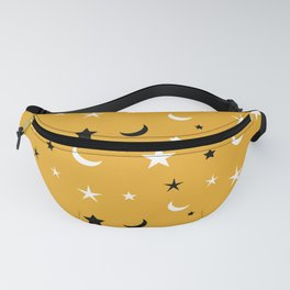 Orange background with black and white moon and star pattern Fanny Pack