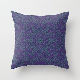 Sonora Smalt Blue Mandala With Jacarta Backdrop Throw Pillow